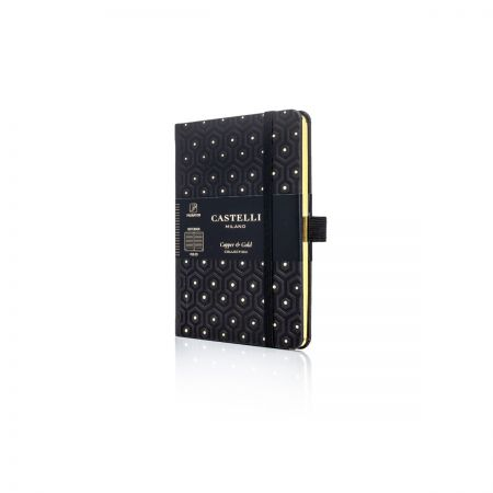 Honeycomb Pocket Ivory Notebook - Black & Gold