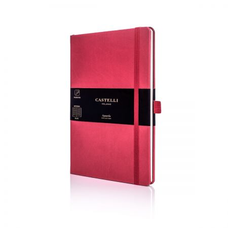Aquarela Medium Ruled Notebook - Coral Red