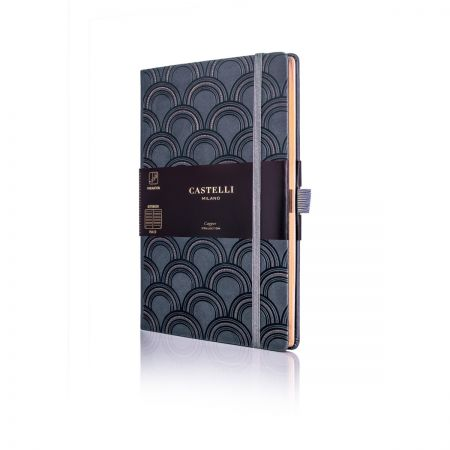 Art Deco Copper Medium Ruled Notebook