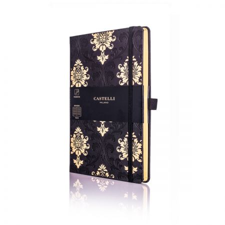 Baroque Medium Ivory Notebook - Black & Gold
