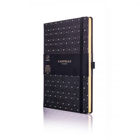 Honeycomb Medium Ivory Notebook - Black & Gold
