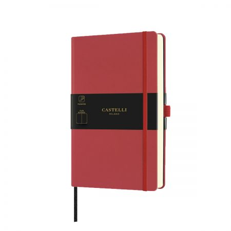 NEW Aquarela Medium Plain Notebook - Coral Red
