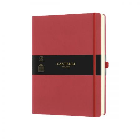 NEW Aquarela Large Ruled Notebook - Coral Red