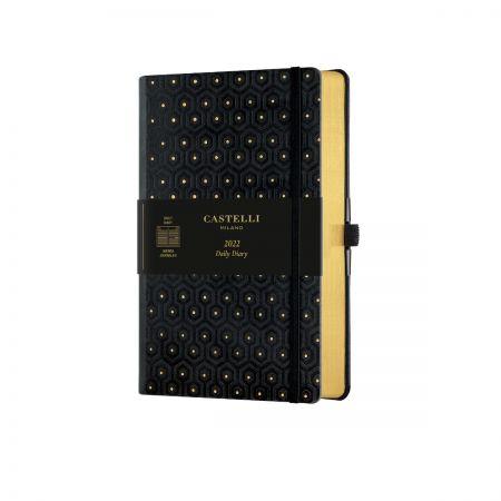 NEW Black & Gold 2022 Medium Daily Diary - Honeycomb