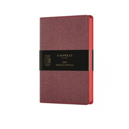 Harris 2021 Medium Flexible Weekly Diary - Maple Red