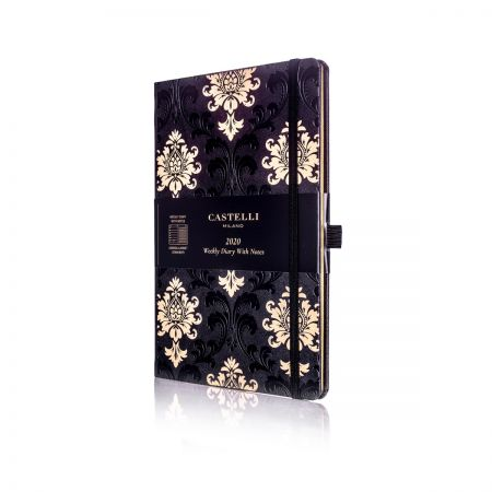 Baroque Medium Ivory Diary - Black & Gold
