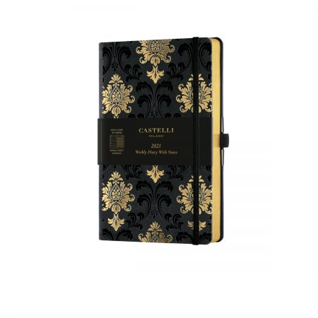 Baroque 2021 Medium Weekly Diary - Black & Gold