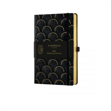 Black & Gold 2021 Medium Weekly Diary - Art Deco