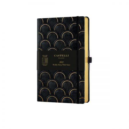 Black & Gold 2022 Medium Weekly Diary - Art Deco