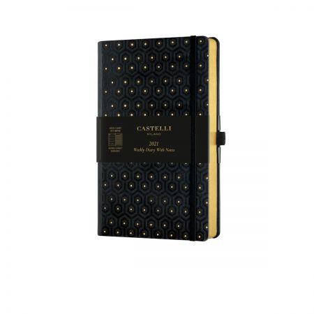 Black & Gold 2021 Medium Weekly Diary - Honeycomb