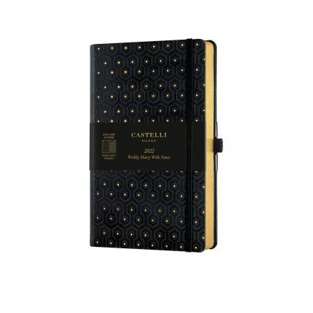 Black & Gold 2022 Medium Weekly Diary - Honeycomb