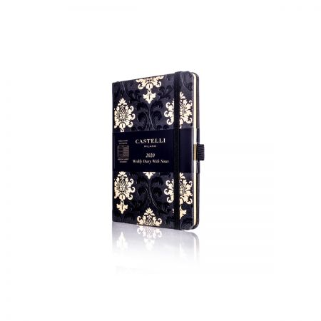 Baroque Pocket Ivory Diary - Black & Gold