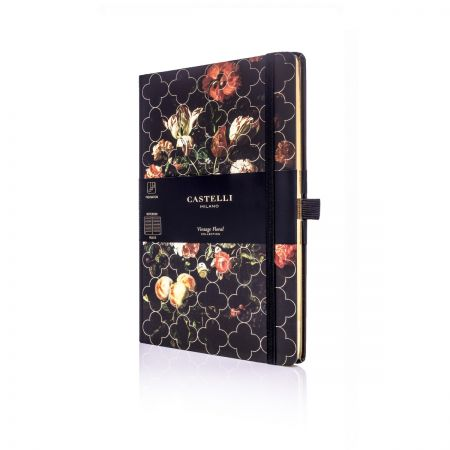 Vintage Floral Ivory Medium Notebook - Tulip