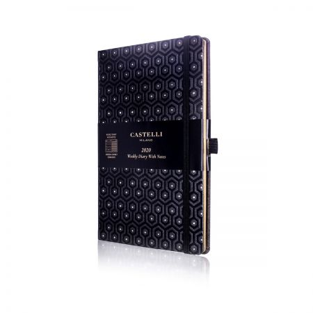 Honeycomb Medium Ivory Diary - Black & Gold