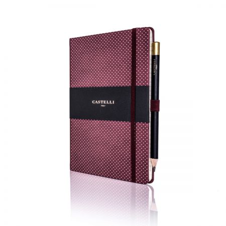 Dotty Ivory Notebook (Medium Ruled) Burgundy