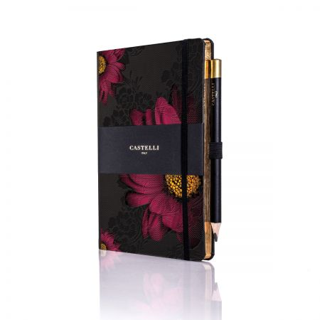 Midnight Floral Ivory Medium Notebook - Gerbera