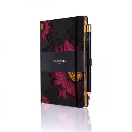 Midnight Floral Ivory Medium Notebook - Gerbera