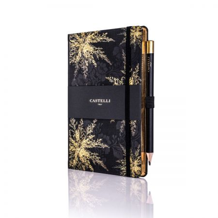 Midnight Floral Ivory Medium Notebook - Heather