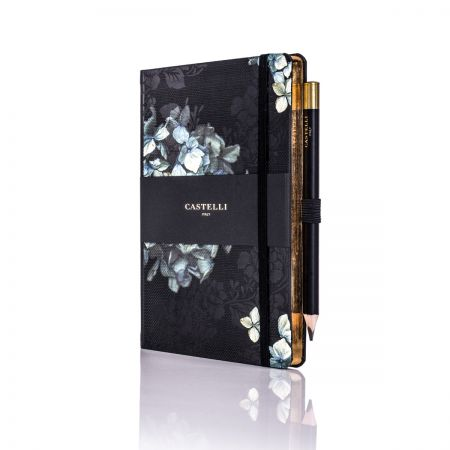 Midnight Floral Ivory Medium Notebook - Hydrangea