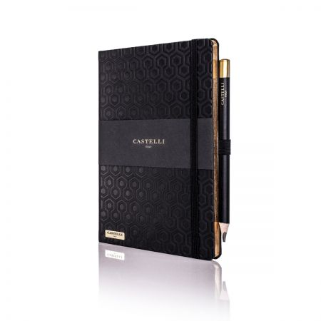 Honeycomb Ivory Notebook - Black