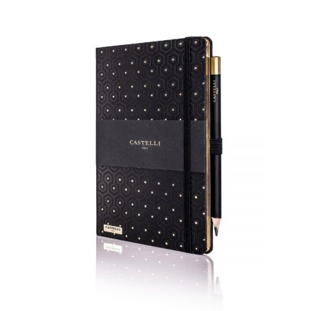 Honeycomb Ivory Notebook - Black & Gold