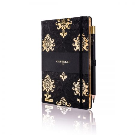 Baroque Ivory Notebook - Black & Gold