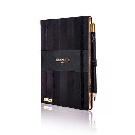 Stripes Ivory Notebook - Black