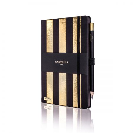 Stripes Ivory Notebook - Gold