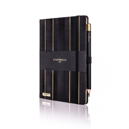 Stripes Ivory Notebook - Black & Gold